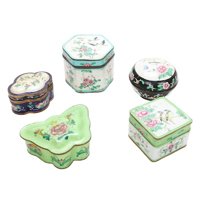 Hand-Painted Chinoiserie Enamel Vanity Boxes