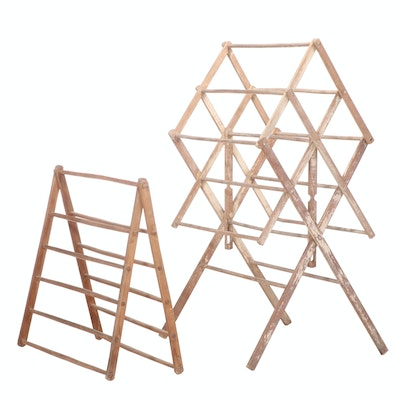 Two American Primitive Collapsible Drying Racks, 19th/20th Century