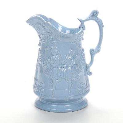 "1865 George Ray ""Dancers"" Molded Stoneware Pitcher with Smear Glaze"