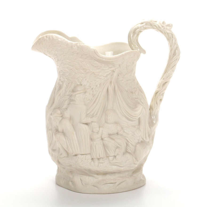 "1842 Jones & Walley ""Gipsey"" Staffordshire Figural Pitcher"