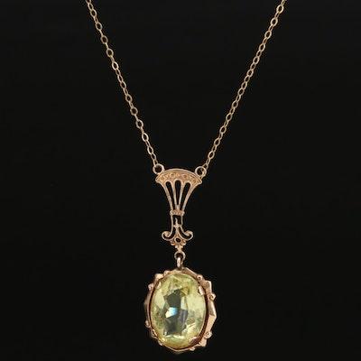 Vintage Openwork 10K Glass Pendant Necklace