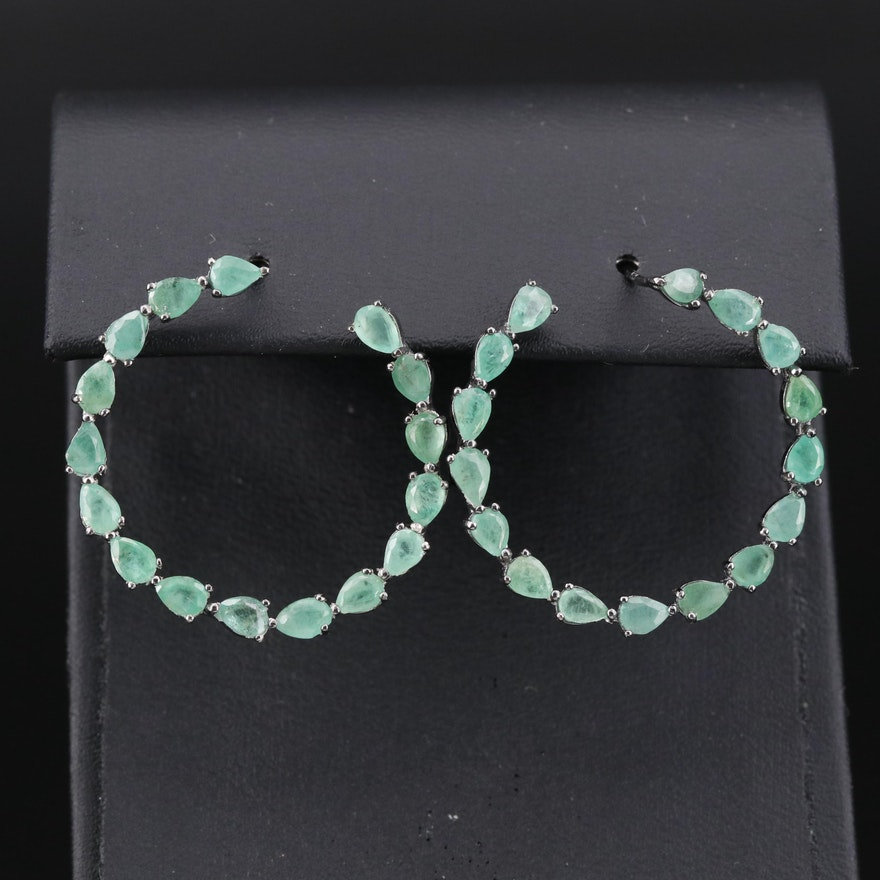 Sterling Pear Faceted Emerald Open Circle Earrings