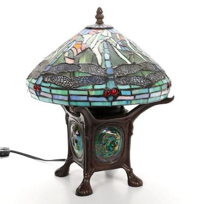 Tiffany Favrile Style Bronzed Dragonfly Slag Glass Desk Lamp