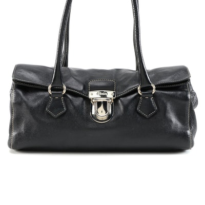 Prada Easy Satchel Bag in Nero Buffalo Leather with Contrast Stitching
