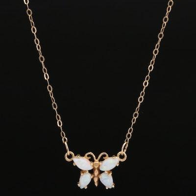 14K Opal Butterfly Necklace