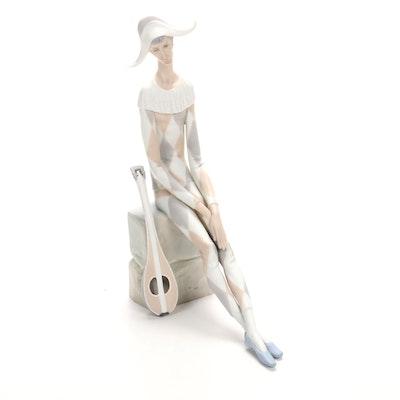 "Lladró ""Sad Harlequin"" Porcelain Figurine Designed by Fulgencio García"