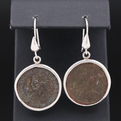 Bronze Roman Coin Earrings with Sterling Silver Findings