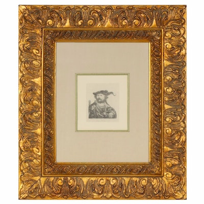 Lithographic Print after Etching of Rembrandt Self-portrait