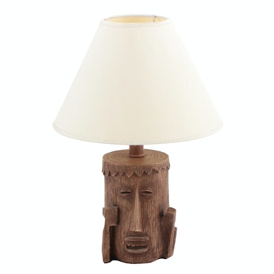 Moai Face Faux Wooden Table Lamp by Nantucket