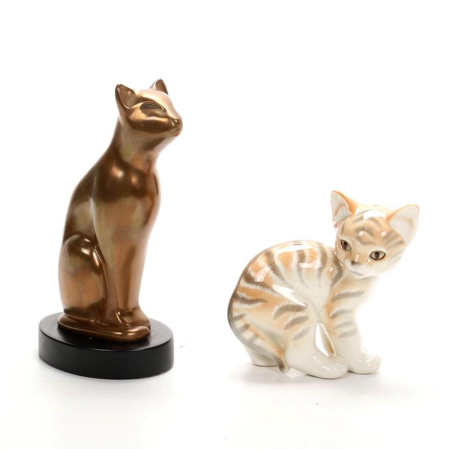 Dewitt Bronze and Lomonosov Porcelain Cat Figurines