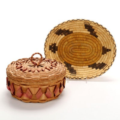 Handwoven Turtle Basket and Northeast Native American Style Lidded Box