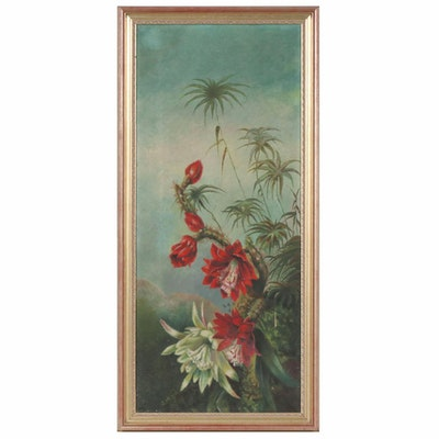 Floral Oil Painting of Tropical Flowers, 20th Century