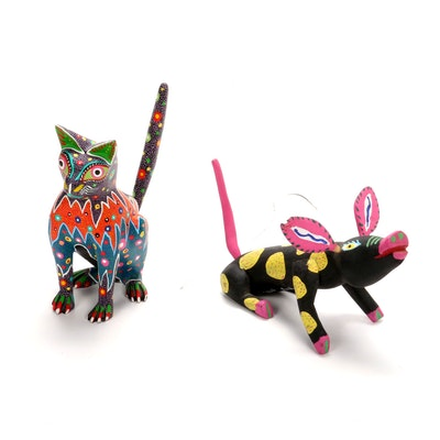 Mexican Hand-Carved and Hand-Painted Alebrijes, Signed