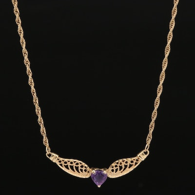 14K Amethyst Heart Faceted Necklace