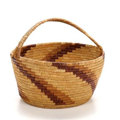 Papago Handwoven Handled Basket