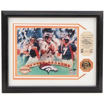 John Elway Denver Broncos Framed Highland Mint NFL with 24k Coin Display