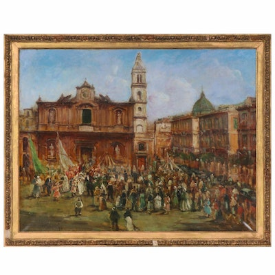 Italian Piazza Celebration Oil Painting