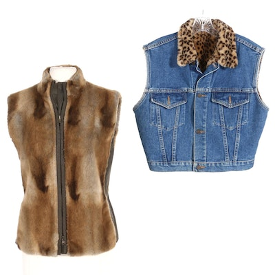 Carlisle Faux Fur and Nylon and Charta Denim and Leopard Print Faux Fur Vests