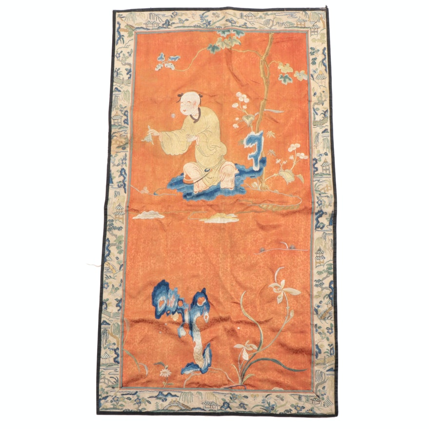 Chinese Silk Embroidery Panel with Tent Stitch Border