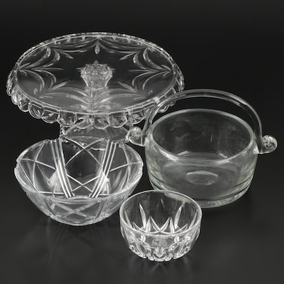 Mikasa Glass Cake Stand with Other Glass Bowls and Basket