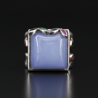 Sterling Silver Ruby, Emerald and Sapphire Ring
