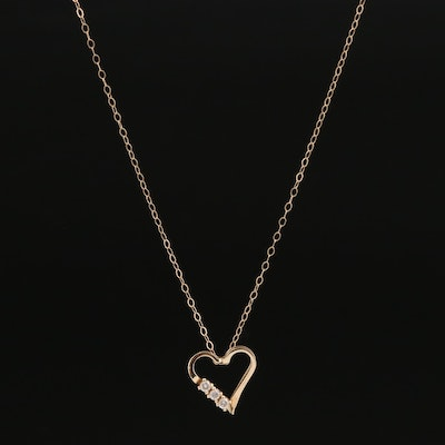 14K Diamond Open Heart Pendant Necklace