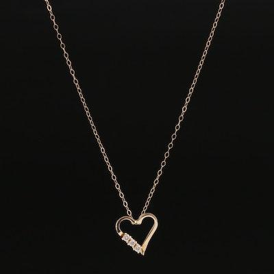 14K Diamond Open Heart Pendant Necklace
