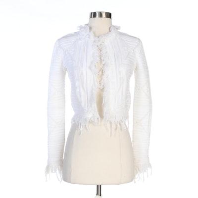Chanel White Crochet Fringe Sweater