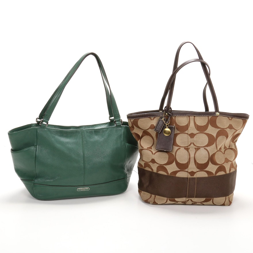 Coach Brown Signature Canvas and Leather Tote with Green Leather Shoulder Bag