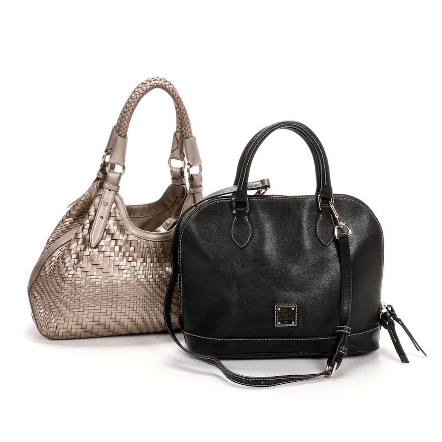 Cole Haan Metallic Leather Woven Bag with Dooney & Burke Saffiano Leather Bag