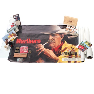 Marlboro Memorabilia Including Lighters, Posters, Thermos and Poker Set