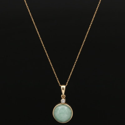 14K Jadeite and Diamond Pendant Necklace