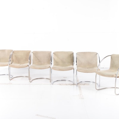 "Giovanni Offredi for Saporiti Italia Suede and Chrome ""Lens"" Armchairs, 1960s"