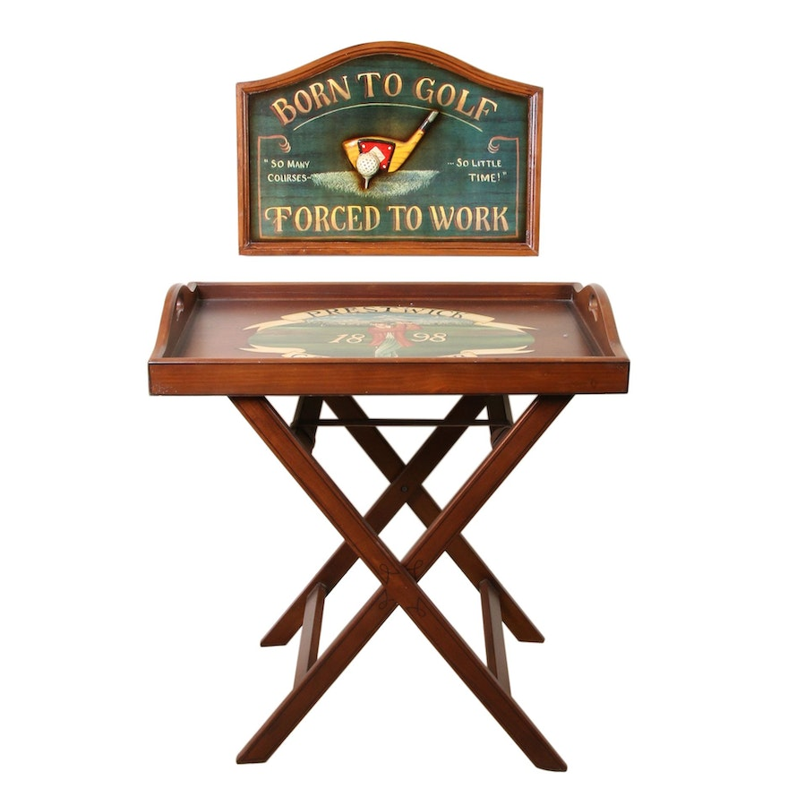 Golf Themed Tray Top Side Table and Wall Hanging