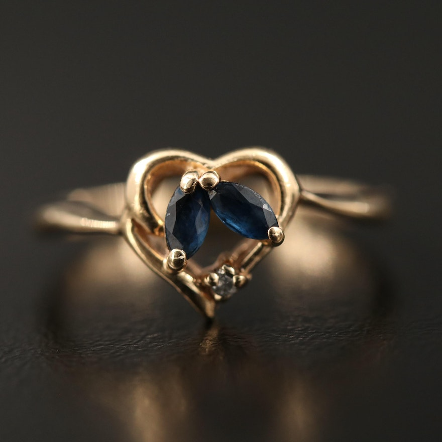10K Sapphire and Diamond Heart Ring