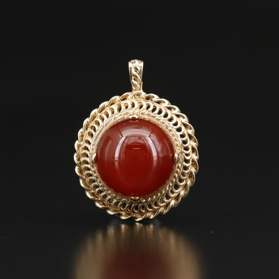 10K Agate Dome Circular Open Pendant with Twisted Accent