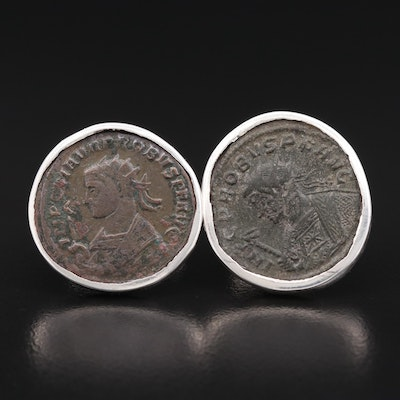 Cufflinks with Circa 280 A.D. Ancient Roman Imperial AE Antoninianus of Probus