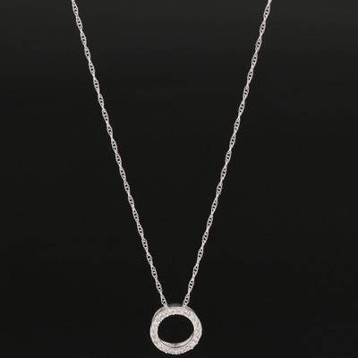 14K Diamond Circle Pendant Necklace