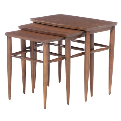 Mid Century Modern Grained Laminate and Walnut Nesting Tables