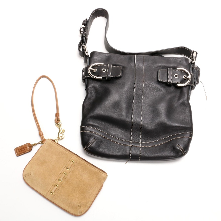Coach Black Leather Solo Slim Duffel Bag and Tan Suede Coin Purse Wristlet