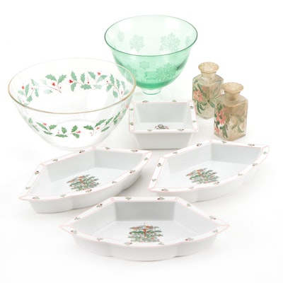 Christmas Serveware Including Bowls, Dishes, and Salt and Pepper Shakers