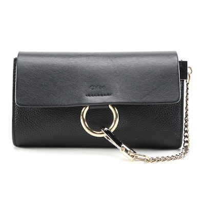 Chloé Mini Faye Convertible Clutch in Black Grained and Pebbled Leather