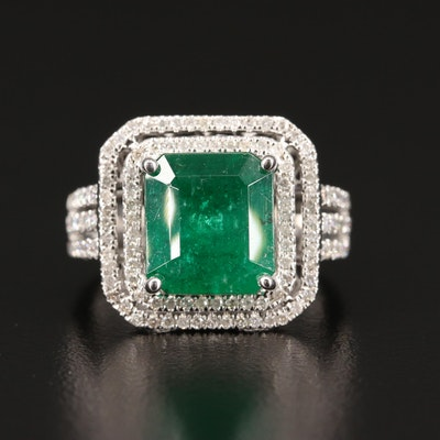 18K 4.31 CT Emerald and Diamond Ring