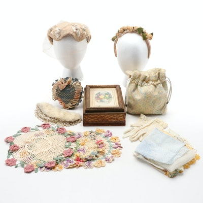 Jewelry Box, Doilies, Sachet, Bobbin Lace Accessories and Other Items, Vintage