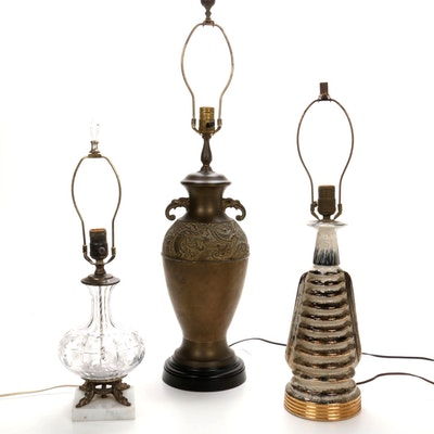 Glass, Brass and Ceramic Decorative Table Lamps