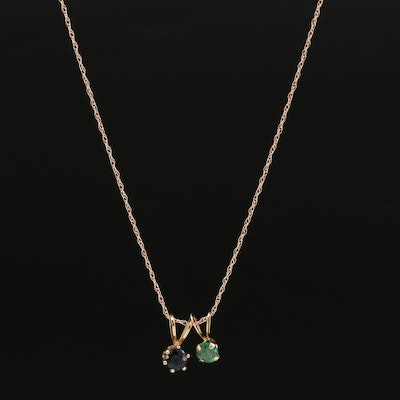 14K Singapore Chain Necklace with a Emerald and Sapphire Pendant