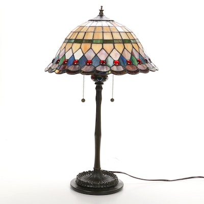 Quoizel Cast Metal Table Lamp with Slag Glass Shade and Iridescent Cabochons
