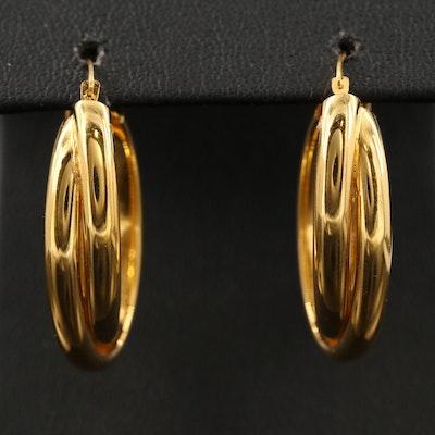 14K Imitation Diamond Elongated Hoop Earrings
