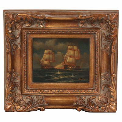Oil Painting of Nautical Battle Scene