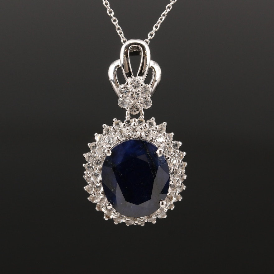 Sterling Silver Corundum and Topaz Double Halo Pendant Necklace